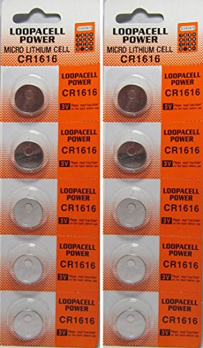 10 Pcs Lithium Coin Loopacell Battery 3v for Keyless Entry Remote Controls CR1616