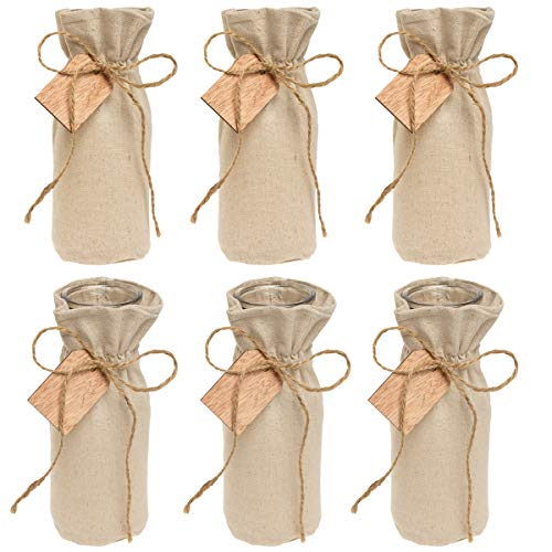 "- Syndicate Sales (6 Pack Vintage Home Décor 8"" Glass Vase Set with Linen Jacket for Flowers Dining Room"