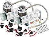 Vixen Horns 150 PSI Heavy Duty Train Horn/Suspension/Air Ride/Bag Air Compressor/Pump with 1/4'' Stainless Steel Braided Hose and 1/4'' NPT Check Valve 12V Chrome (Dual Pack) VXC8101DP