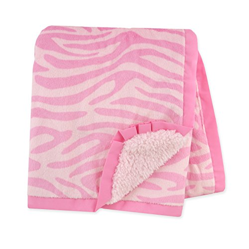 Zebra Stroller Blanket (Carter's Plush Valboa with Microplush Blanket, Zebra/Pink)