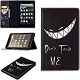 "Fire HD 8 Tablet Folio Case,LaoTzi Premium PU Leather Heavy Duty Anti-Shock Rubber Protective Cover for Fire HD 8 Tablet (8"" Tablet, 7th Generation - 2017 Release) - Bad Smile [Don't Touch Me]"