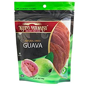 Kleins Natural's Natural Dried Guava Discs, Tropical Dried Fruit, Sweetened Dry Guavas, 7-Ounce Pouches (Pack of 3)