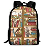 Posia Nerd Book Lover Kitty Sleeping Over Bookshelf in Library Travel Bookbag School Backpack,Classic Lightweight Water-Resistant Backpack for Men Women College Schoolbag.