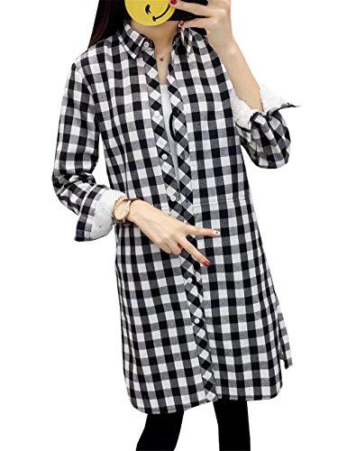 Maglia Donna Top Maglietta Cotone Cardigan Risvolto Elegante Nero Casual clothing Moda Lunga Camicia Cappotti Quadri a Manica T shirt COCO 6YXaExq1
