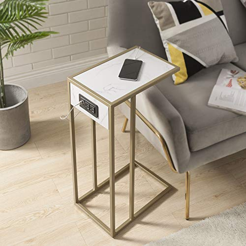 Clement Gold Base C Table with USB and Plug in Marble Finish, White/Gold