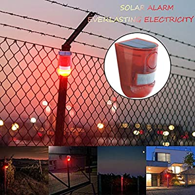 Transer- Solar Powered Motion Sensor Security Alarm Strobe Light and Loud Siren for Personal Farm Villa Apartment Outdoor Yard, Easy to Install, Wireless, One Charge Can Work for 30 Days