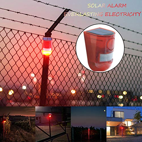 Transer- Solar Powered Motion Sensor Security Alarm Strobe Light and Loud Siren for Personal Farm Villa Apartment Outdoor Yard, Easy to Install, Wireless, One Charge Can Work for 30 Days (Red) - Strobe Light Security Alarm