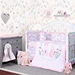 TILLYOU-Luxury-8-Pieces-Floral-Crib-Bedding-Set-Crib-Bumpers-Quilt-Crib-Sheets-Crib-Skirt-Floral-Bunny-Printed-Nursery-Bedding-Set-for-Girls-Pink