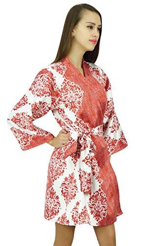 Amoghah Corta De Algodón Satinado Impreso Manga Kimono Dama De Conseguir Listo Encubrimiento Batas Blanco y rojo