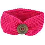 Babies Kids Best Deals - DaySeventh Baby Knitting Infant Kids Girl Button Headbands Head Wrap Knotted Hair Band (Hot Pink)