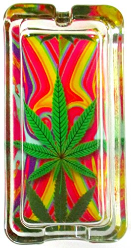 Marijuana Weed Tye Dye Psychedelic Glass Ashtray