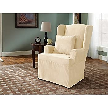 living room chair slipcovers. Sure Fit Soft Suede  Wing Chair Slipcover Cream SF38637 Amazon com Cotton Duck Natural
