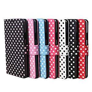 7Colors Polka Dots Wave Point Flip Leather Case Cover For Samsung Galaxy S5 S 5 SV I9600 --- Color:Rose