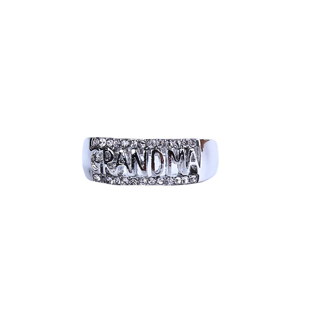 YouCY Grandma Hollow Ring Letter Diamond Ring Vintage Openwork Ring Jewelry Family Birthday Gift for Women Ring Size 5-11,Silver,Size 9