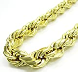 10K Yellow Gold 8.0mm Rope Diamond Cut Necklace Chain Link Lobster Clasp, 16-24 Inches