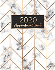 2020 Appointment Book: Marble Cover, 52 Weeks Daily Hourly Appointment Calendar With Times 15 Minute Increments Monday to Sunday with 8AM - 9PM, 2020 Planner Weekly and Monthly Schedule Agenda Logbook for Salons, Hair Stylists