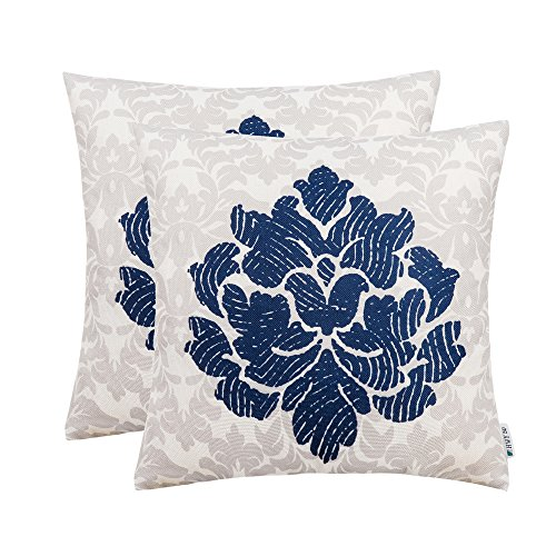 Dark Blue Throw Pillows Covers 18 x 18 inch, Pack of 2 Thicken Cotton Linen Printing Home Decorative Throw Pillows Cases For Sofa/Bed, Art Bstract Pattern Fingerprint Flower Cushion Covers -
