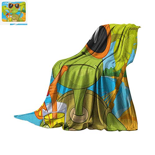 Turtle Throw Blanket Cool Sea Turtle with Sunglasses Drinking Cocktail at The Beach Cartoon Warm Microfiber All Season Blanket for Bed or Couch 62