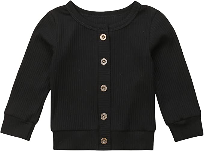 Newborn Baby Girl Boy Sweater Hoodie Coat Long Sleeve Solid Color Button Knitted Fall Winter Cardigan Outerwear
