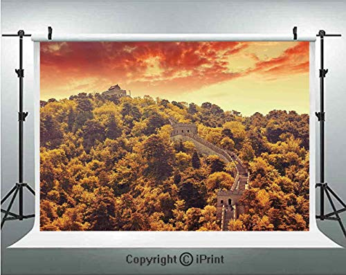 Great Wall of China Photography Backdrops Mitianyu Section Vintage Tribal Construction in Trees Old Landscape,Birthday Party Background Customized Microfiber Photo Studio Props,7x5ft,Green Orange (Triple Tree Tribal)