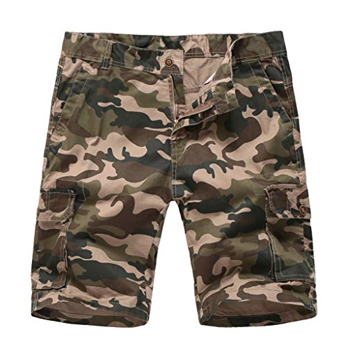 Men's Cargo Shorts Fashion Casual Loose Camouflage Cotton Trousers Relaxed Fit Beach Pant