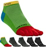 FUN TOES Men's Toe Socks Lightweight Breathable-Value 6 PAIRS Pack- Size 6-12