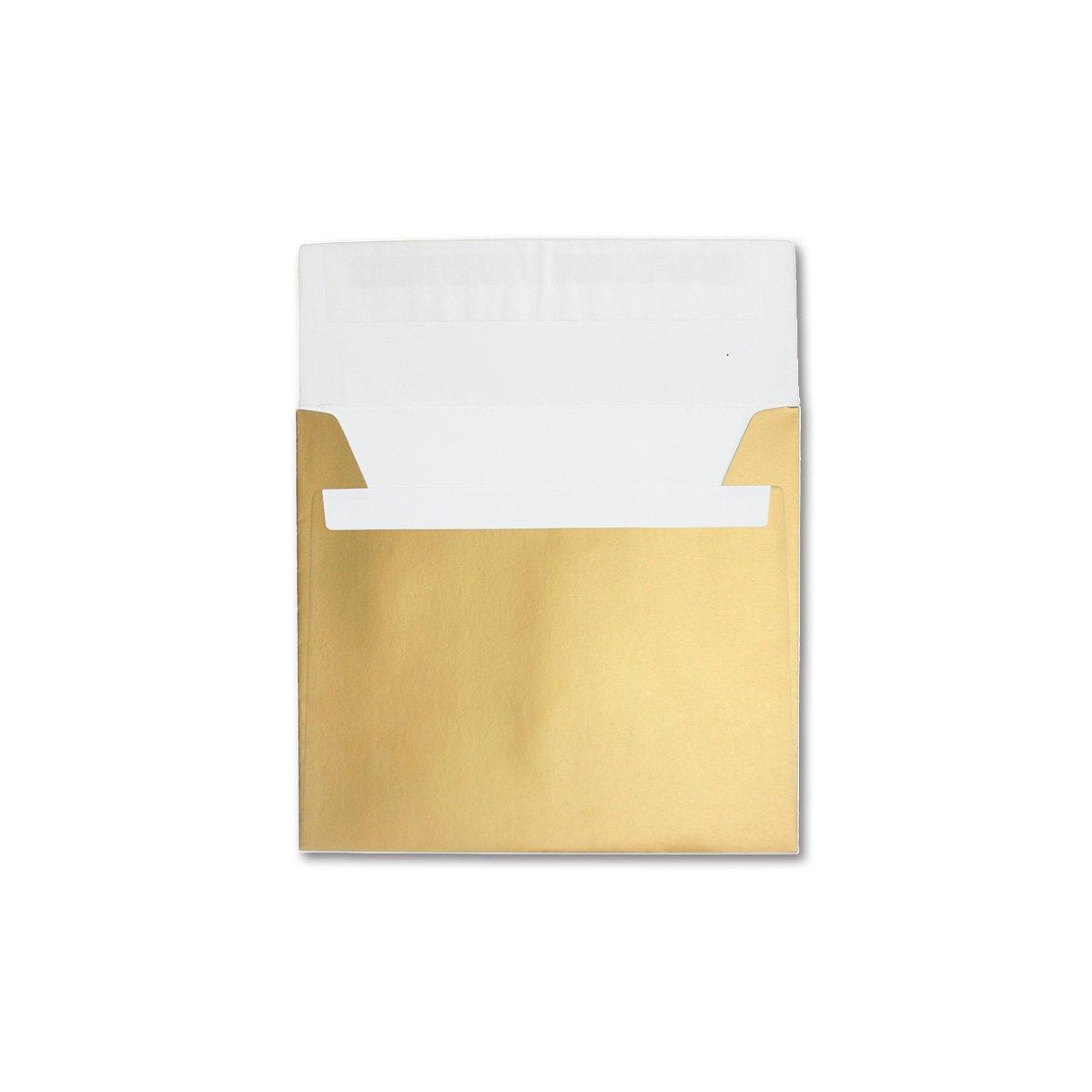 Grande Enveloppes carr/ées /130/g//m/² 220/x 220/&n /presque infroissable/ lourd et forte qualit/é/ /M/étallique avec effet brillant /Tr/ès stable/ Gold/