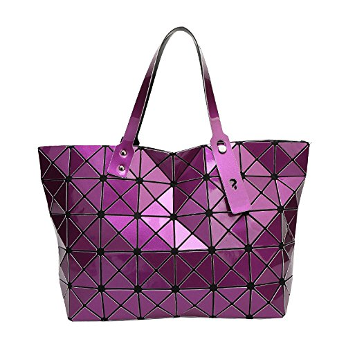 Mode Géométrique Fourre à Haut Main Bandoulière Mesdames tout Sac Sac Sac Purple à Aqdxp5x