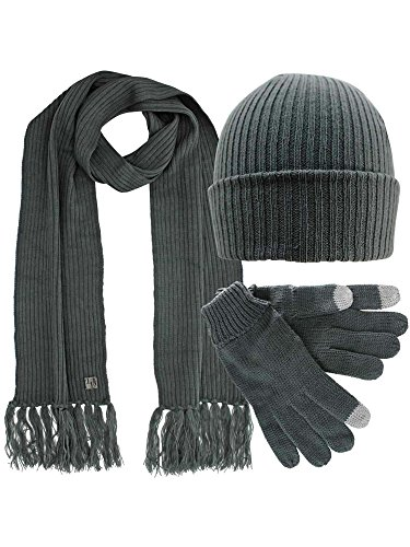 Charcoal Grey Ribbed Knit Men's 3 Piece Hat Scarf & Texting Gloves Set