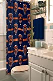 Chicago Bears COMBO Shower Curtain, Matching Shower Curtain Rings & Set of (Four) Appliqué Bath Towels with Team Logo - Decorate your Bathroom & SAVE ON BUNDLING!