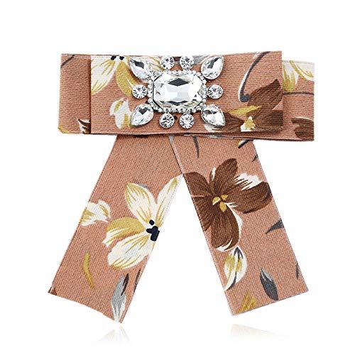 Women Rhinestone Striped Pearl Satin Ribbon Bow Tie Brooch Pin Wedding Jewelry | Color - #4 ()