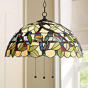 "Robert Louis Tiffany Tropical Birds 20""W Plug-in Pendant - Robert Louis Tiffany"