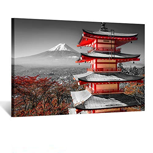Kreative Arts Black and White Photograph with Pop of Red on a Chinese Shrine Canvas Prints Wall Art Fall Landscape Photo to Canvas Giclee Artwork with Frame Ready to Hang Home Decor 24x36inch