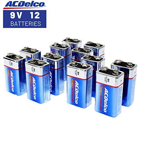 ACDelco 9 Volt Batteries, Super Alkaline Battery, 12 Count Pack