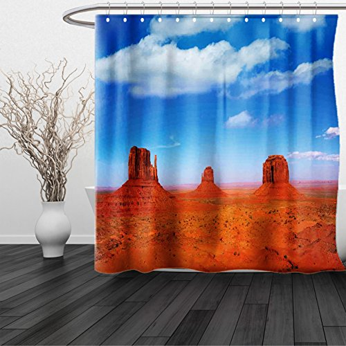 Kansas Printed Curtain Panels (HAIXIA Shower Curtain Western Monument Valley in Wild West Historical American Lands and Sky Photo Deco Burnt Orange Blue)