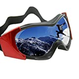 Vhccirt Ski Goggles 100% UV Protection Polarized PC Lens Unisex OTG Snowboard/Parachute Jumping Windproof Goggles Black Red Frame