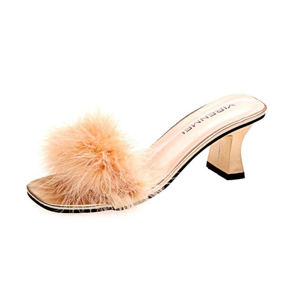 GIY Womens Fashion Open Toe Fur Block Heel Slide Sandals Platform Chunky Heel Dress Pump Wedge Sandal