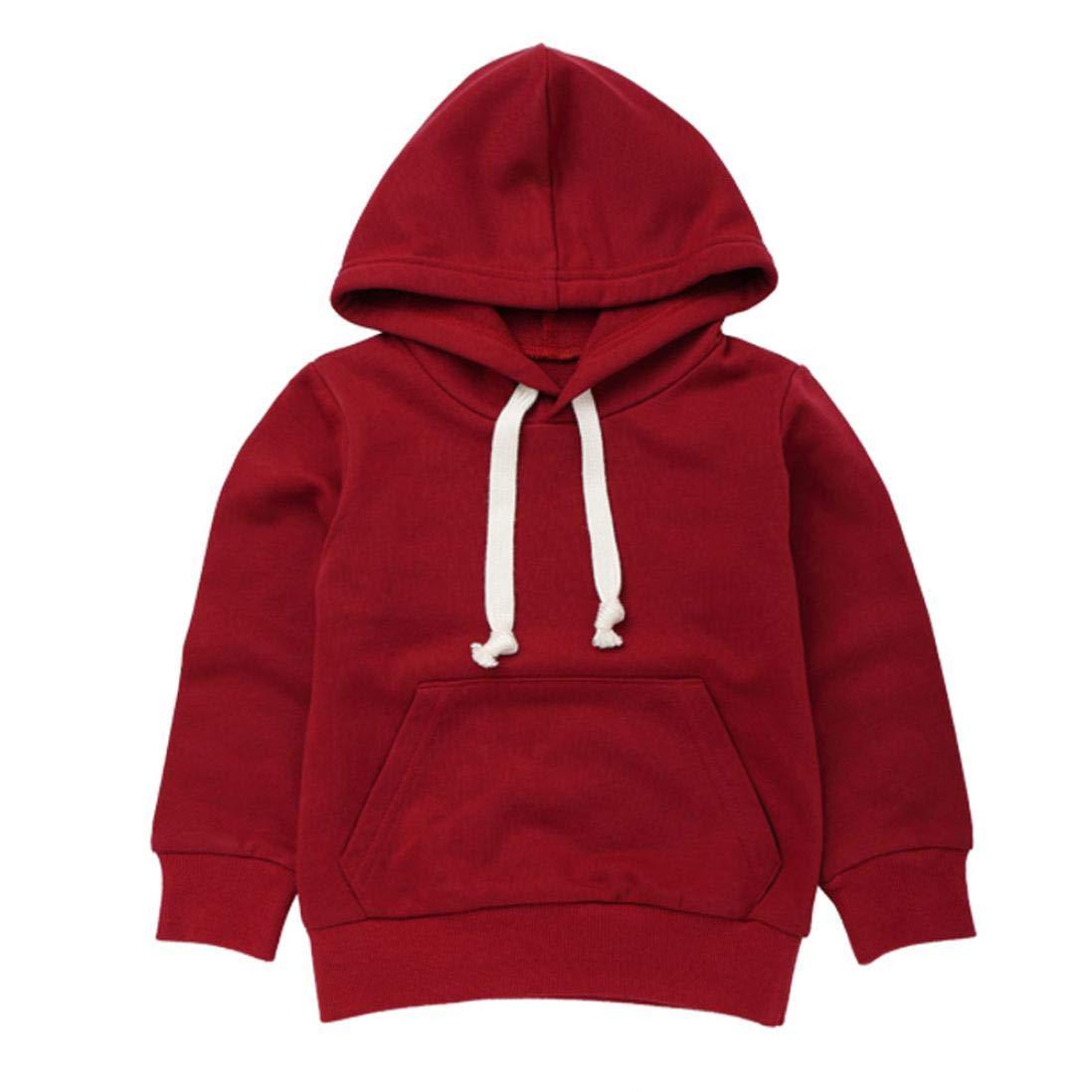 Matoen Toddler Infant Baby Boys Girls Soild Color Cute Hooded Sweatshirt Tops