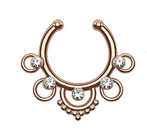 """Rose Gold Plated Five Rings with Center Gems 5/16""""Hoop Non-Piercing Fake Septum Hanger 530RC"""