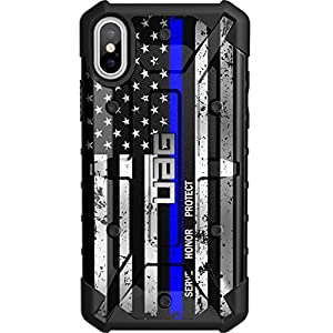 Limited Edition – Customized Designs by Ego Tactical Over a UAG- Urban Armor Gear Case for Apple iPhone X/Xs (5.8″)- Serve, Honor, Protect – Thin Blue Line US Flag
