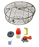 KUFA Stainless Steel crab trap with zinc anode & accessory kit (100' Non-Lead sinking line,Clipper,Harness,Bait Bag & 14'' Float) CT100+CAS3+ZIN1