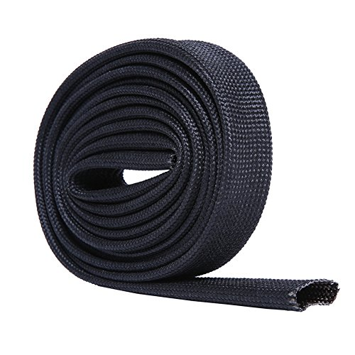 Hiwow 5FT Heat Sleeve Fiberglass Adjustable Heat Shield Sleeve Black Color (5FT X 13MM(1/2'')) ()