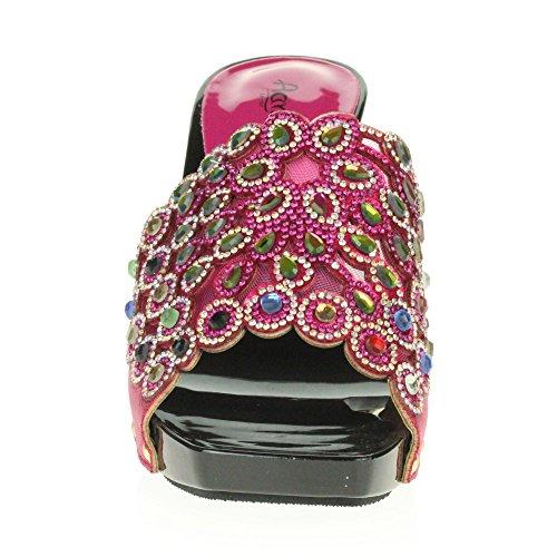 Ponerse Noche Sandalias de Bloquear Decorado o Fiesta Mujer Zapatos Nupcial Se Prom tama Crystal Bodas Heel Rosado Diamante Cono oras wqx6IpR