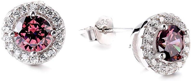 925 Pendientes de Plata Esterlina Pendientes Llenos de Diamantes Joyería Ronda Semi-piedras preciosas Brillantes Pendientes Joyería de Moda de Fiesta de Moda