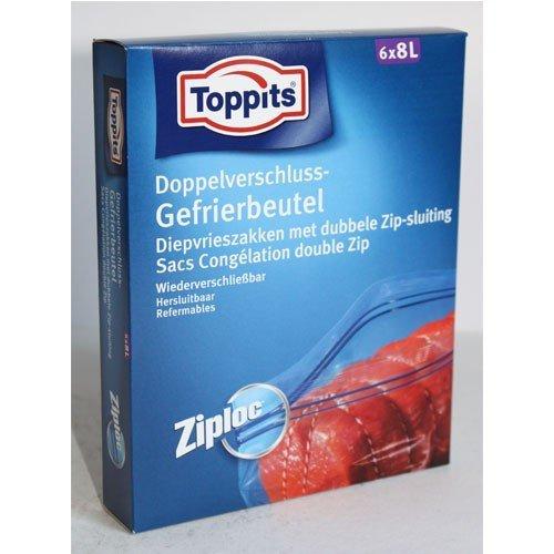 200853 Toppits Doppelverschluss-Gefrierbeutel 8l, 6 Stk