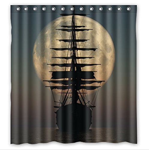 Cool Pirate Ship and Moon Waterproof Bathroom Shower Curtain