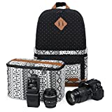 "Koolertron Professional Cute Canvas Camera Case Backpack with Rain Cover for SLR DSLR Canon Nikon Sony Camera Bag Fits for 15"" Laptop"