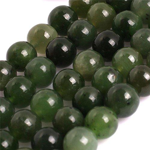 AAA Grade Natural Genuine Gemstone Semi Precious Stone Beads for jewelry Making 15'' (Round Green Canadian Jadeite Jade/6MM)