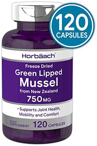 Horbaach Green Lipped Mussel 750 mg 120 Capsules | from New Zealand | Premium Freeze Dried Mussel Powder | Non-GMO and Gluten Free