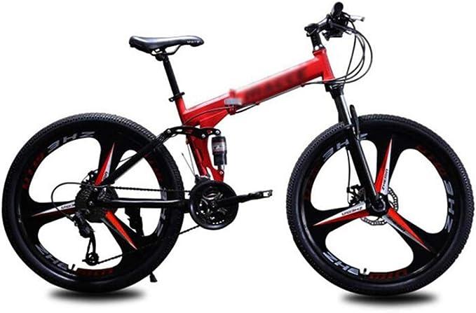 Tbagem-Yjr Bicicletas De Montaña, Plegables 24 Pulgadas Ruedas City Road Bike Bicicleta Plegable Al Aire Libre (Color : Red, Size : 27 Speed): Amazon.es: Hogar